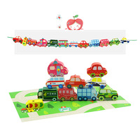 Wooden Children's Beads Toys Transportation Baby Beaded Game Toys for Children Arts and Crafts for Kids