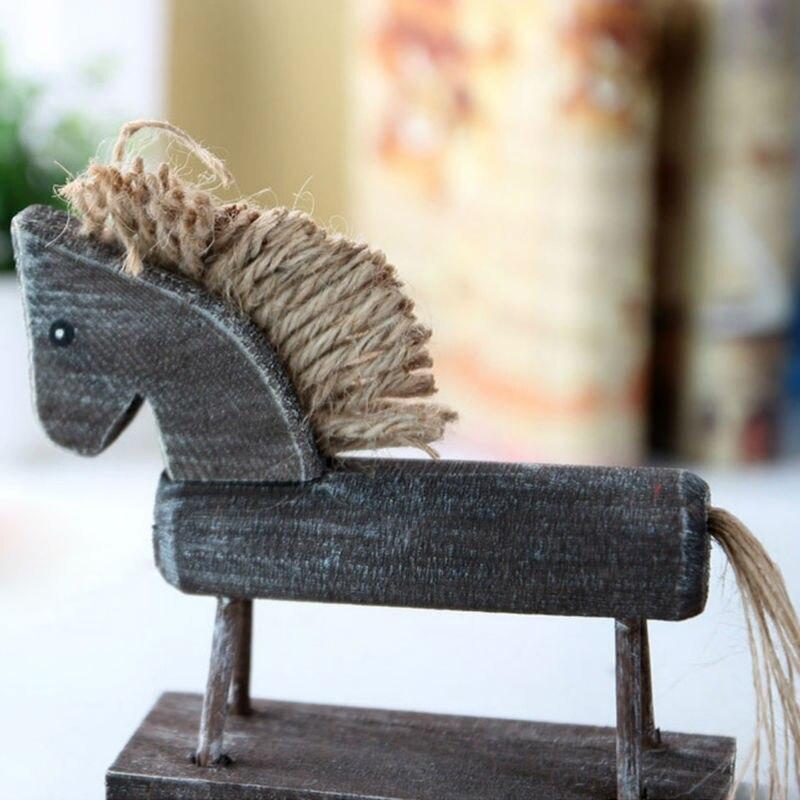 Wood Horse Figurines Creative Decoration Crafts Gifts mediterranean style furniture Home Decor decorative figurine miniature