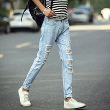 Fashion Men Hole Denim Pants Men's Long Straight Leg Slim Fit Casual Ripped Jeans Light Blue Streetwear Hiphop Trousers Hombre applique straight leg ripped pants