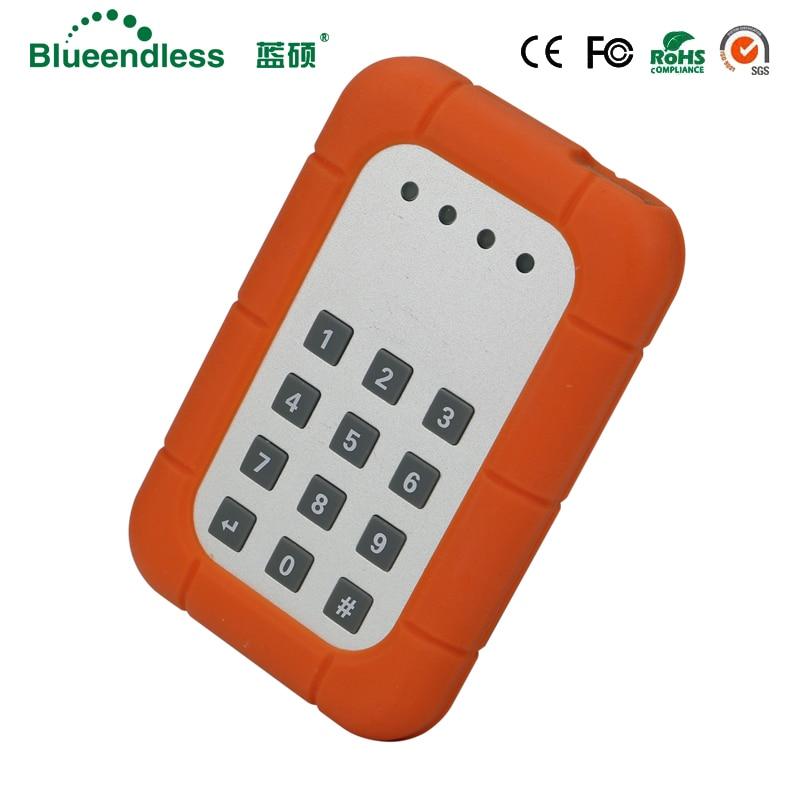 Crypter serrure à clé sata hdd sata hdd cas avec réglage du mot de passe fonction USB3.0 boîte de disque dur haute vitesse antichoc cas