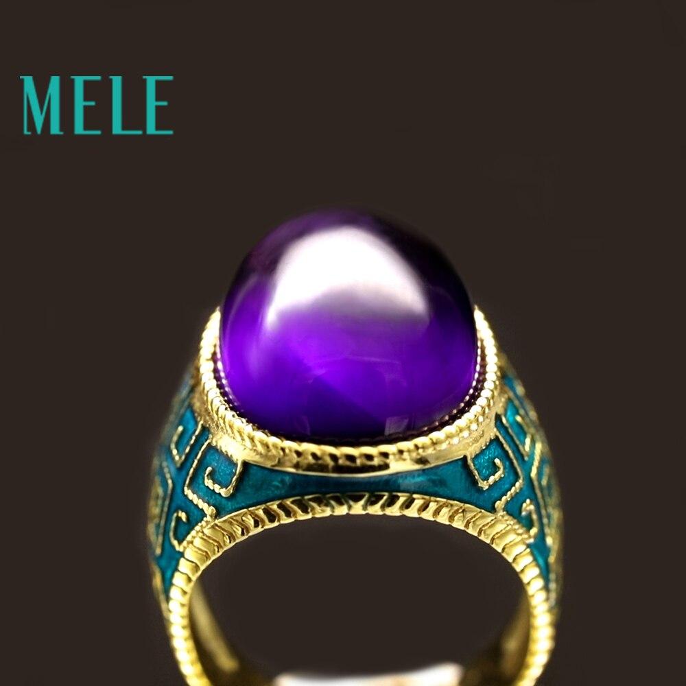Naturalny ametyst 925 pierścionki srebrne dla kobiet z dużym owale 13X18mm kamień emalia craft elegancka biżuteria w stylu vintage w violet kolor w Pierścionki od Biżuteria i akcesoria na  Grupa 2