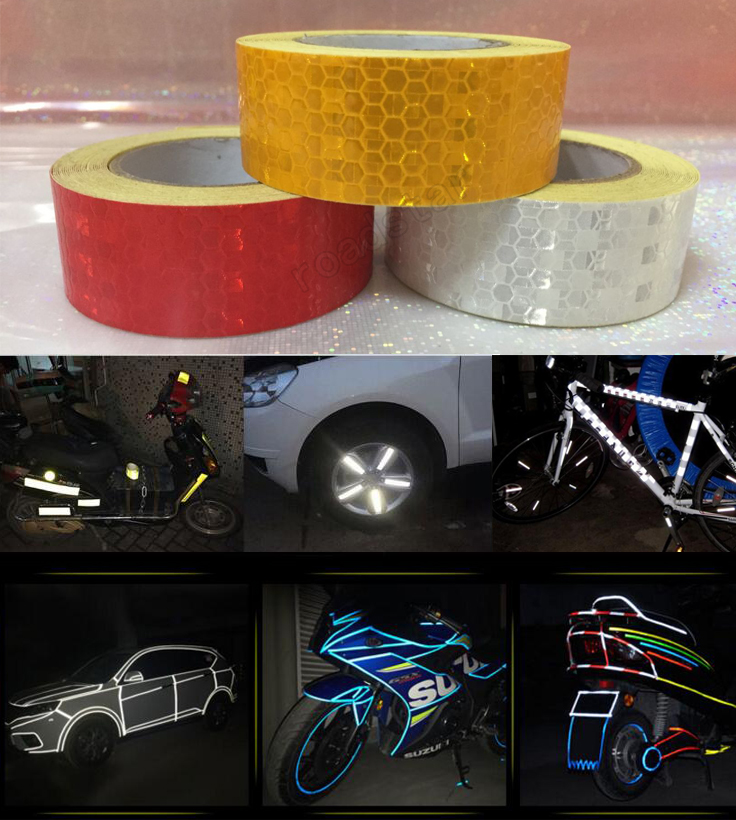 25mm x 5m yellow/red/white Reflective tape stickers car-styling Self Adhesive Warning Tape multi color 1 roll 20m marking tape 100mm adhesive tape warning marker pvc tape