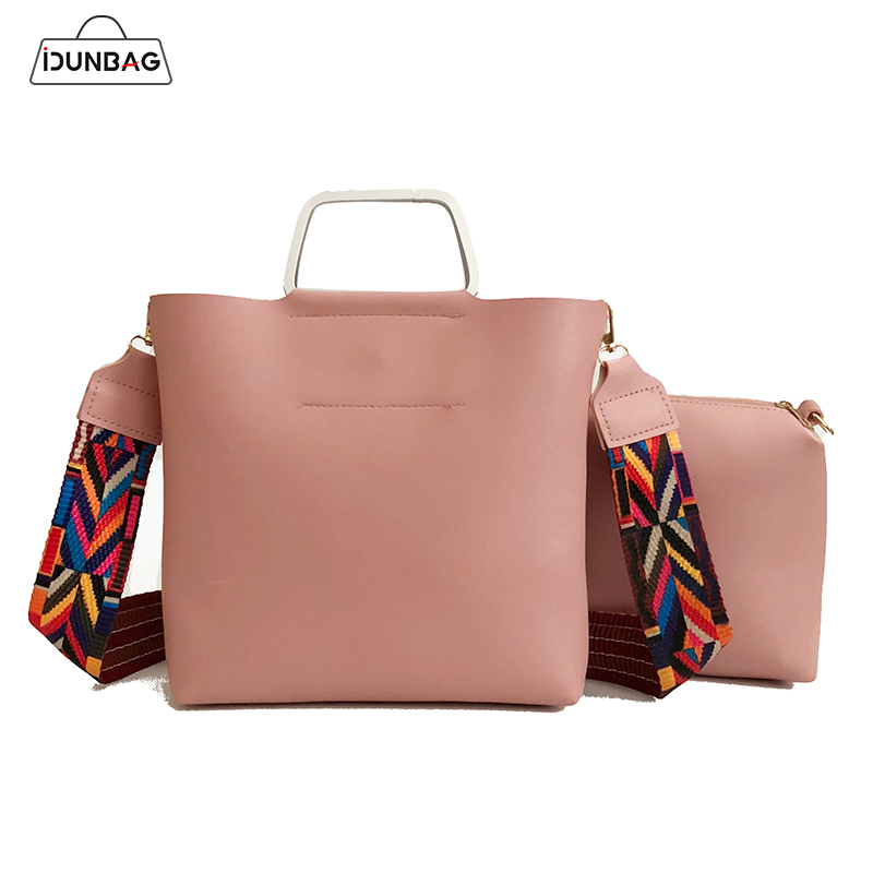 2Pcs Women Handbags Set Colorful Strap Shoulder Bags High Quality Pu Leather Top-handle Female Messenger Bags+Small Cluth Purse