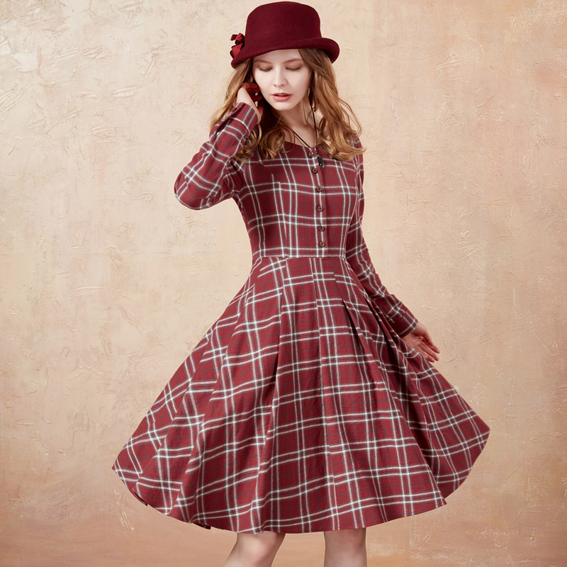 Artka 2018 New Summer Ladies High Waist Princess Dress Full Sleeve V-neck Vintage Female Knee-Length A-line Plaid Dress LA10177D