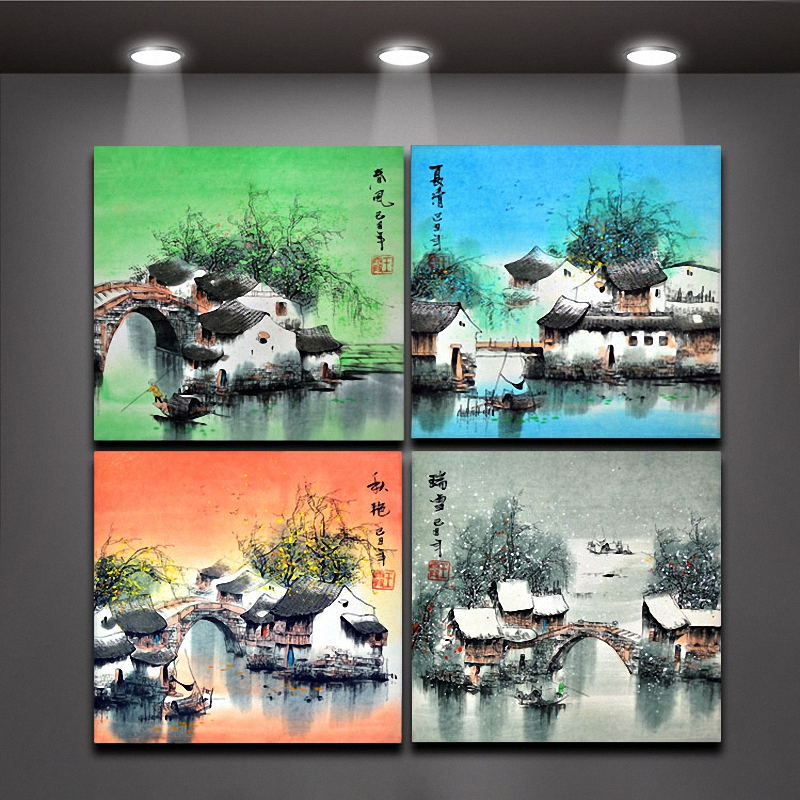 4 piece chinese painting four seasons oil painting wall for Decoration jardin chinois