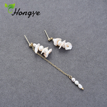Hongye 1 Pair Silver Earrings for Women Baroque Pearls Dangler Stylish Girls Unmatched Ear Jewelry Gifts for Bridal Wedding цена