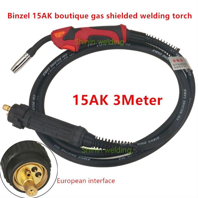 Binzell style européen MB 15AK CO2 MIG MAG torche de soudage 3 m câble 180A intégré deux soudeurs Boutique torche de soudage