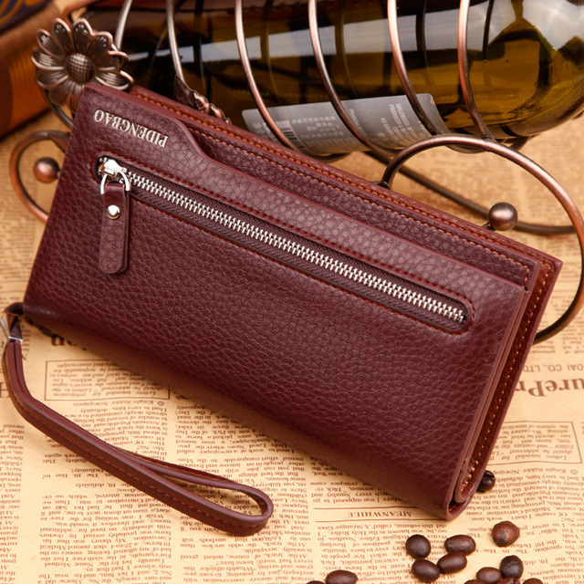Vintage Famous Brand designer Men Wallet Luxury Long Men's Clutch Bags Male Monederos Purse Leather Portemonne phone cards holde