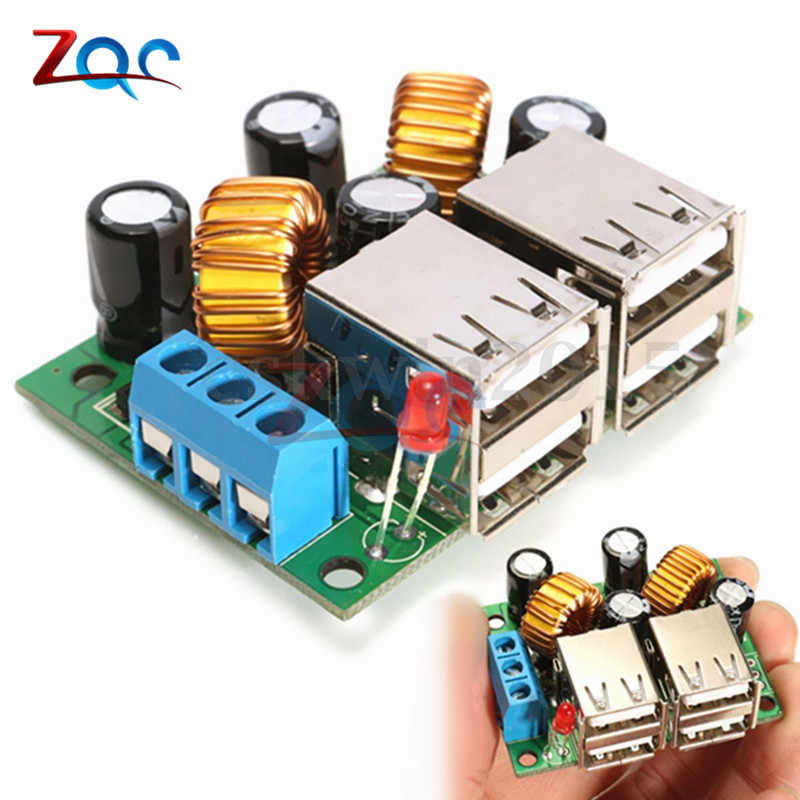 A5268 4 Usb-poort Step Down Voeding Voltage Regulator Module Converter DC 12V 24V 40V 5V 5A Voor MP3/MP4 Telefoon Auto etc.
