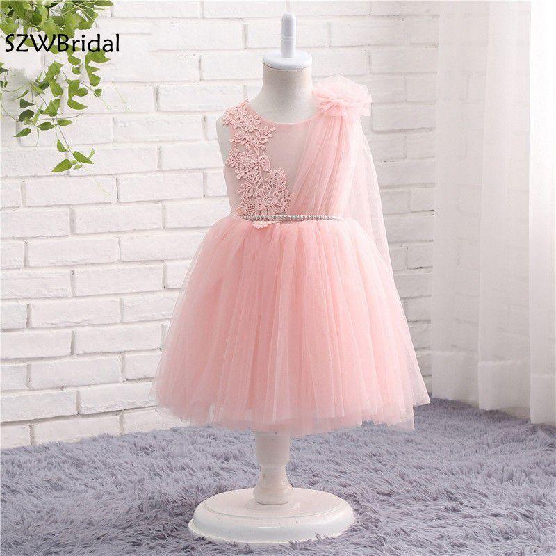 New Arrival Cap sleeve Tulle Pink   flower     girl     dresses   Lace Appliques Vestido daminha 2019 vestidos de primera comunion