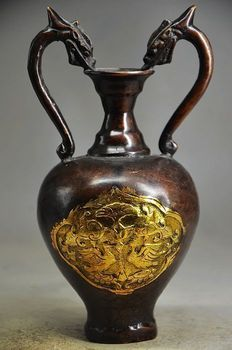 6.1 inch /The Chinese dragon vase exquisite gold-plated copper manual sculpture