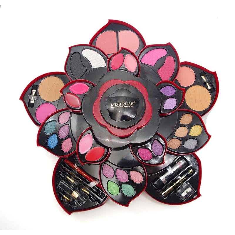 Plum Flower Eye Shadow Pallete Large Plum Blossom Rotating Makeup Tools Set Eyeshadow Box Cosmetic Case Makeup Set Women Gift jyq 084 flower and leaves pattern eye shadow stickers set red green pair