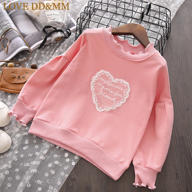 LOVE DD MM Girls Sweater 2018 Autumn New Children s Clothing Girls Sweet  Lace Love Applique Long- 83c5c679f
