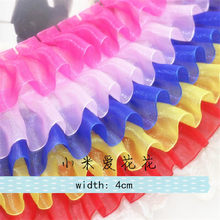 3Meters 15Colors DIY Chiffon Pleated Lace Trim Curtains Bedspreads Pillowcases Clothes Lace Edge Gift Decoration Dolls Skirt 4cm(China)