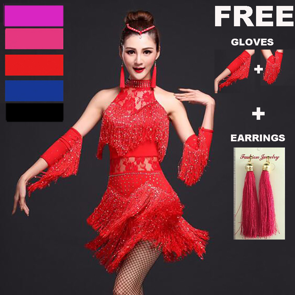 Explosion Latin Dance Women Fringe Dress & Gloves & Earrings Competition / Practice Cha Rumba Samba Salsa Dance Dress Great Gatsby