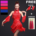 Vestido de baile latino de mujer vestido de flecos y guantes y pendientes competencia/práctica Cha Rumba Samba Salsa vestido de baile gran Gatsby