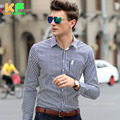 Long Sleeve Cotton Striped High Quality Men Shirt Dress Man's Business Clothing Turn-Down Collar Social Brand Shirts MDSS1510