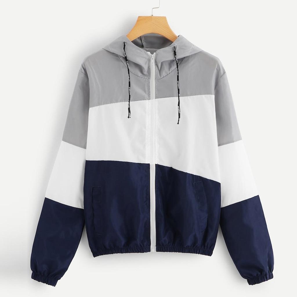 YOUYEDIAN Women hoodies Long Sleeve Patchwork Hooded Zipper Pockets Casual Sport Coat moletom feminino Women's Clothing