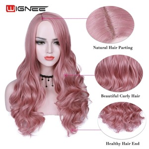 Image 2 - Wignee Pink Hair Long Wavy Wigs Heat Resistant Synthetic Wig For Women Daily/Party Natural Black to Brown/Purple/Ash Blonde Wig