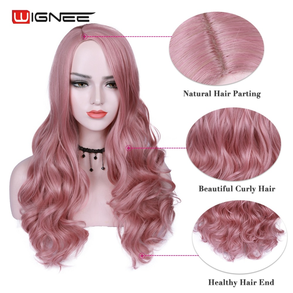 Wignee Pink Hair Long Wavy Wigs High Density Heat Resistant Synthetic Wig For Women Natural Black To Brown/Purple/Ash Blonde Wig