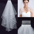 In Stock Simple Cheap White Ivory Wedding Veil Satin Edge One Layer Wedding Accessory Bridal Veils with Comb Free Shipping