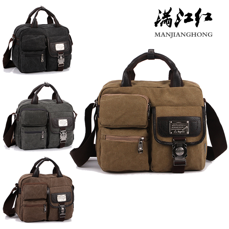 vintage fashion unisex canvas messenger bag book laptop school shoulder bags ladies women crossbody bags handbag men travel bag Fashion Canvas Handbag Shoulder Bag Men Vintage Crossbody Sling Bags For Men Satchel Casual Messenger Shoulder Bag Travel 1061