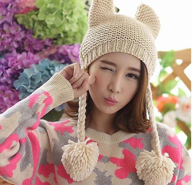 bomhcs cute women s fashion autumn winter warm crochet beanie handmade ear muff knitted hat cap with letters BomHCS Cute Cat Ear New 100% Handmade Knitted Beanie Women Winter Hat Ear Muff Cap with Balls