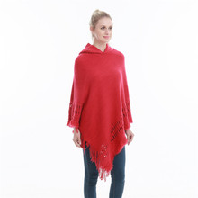 New fashionable Women Hooded Solid color Poncho  Cape Ladies Plus Size Knitted Sweaters oversize Pullover woman coat free цена 2017