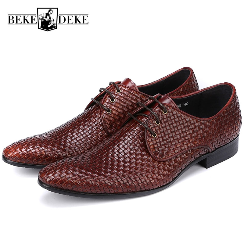High Quality Fashion Italian Luxury Brand Men Dress Shoes Braided Mens Business Formal Wedding Flat Shoes Pointed Toe Plus Size