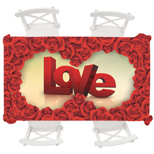 Red Rose Round Tablecloth Wedding Table Cloth Rectangular Waterproof Boho Flower 3D LOVE Oilproof Cover 145*145