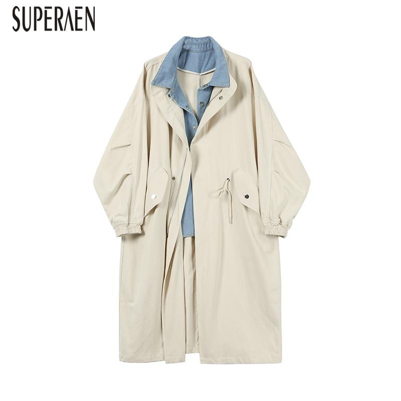 SuperAen Windbreaker Female 2019 Spring and Autumn Korean Style   Trench   Coat for Women Stitching Denim Wild Women Clothing