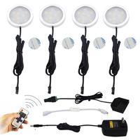 4pcs Set Cabinet Lamp Cool White Round Super Bright Epistar Chip SMD3528 Led Under Cabinet Light