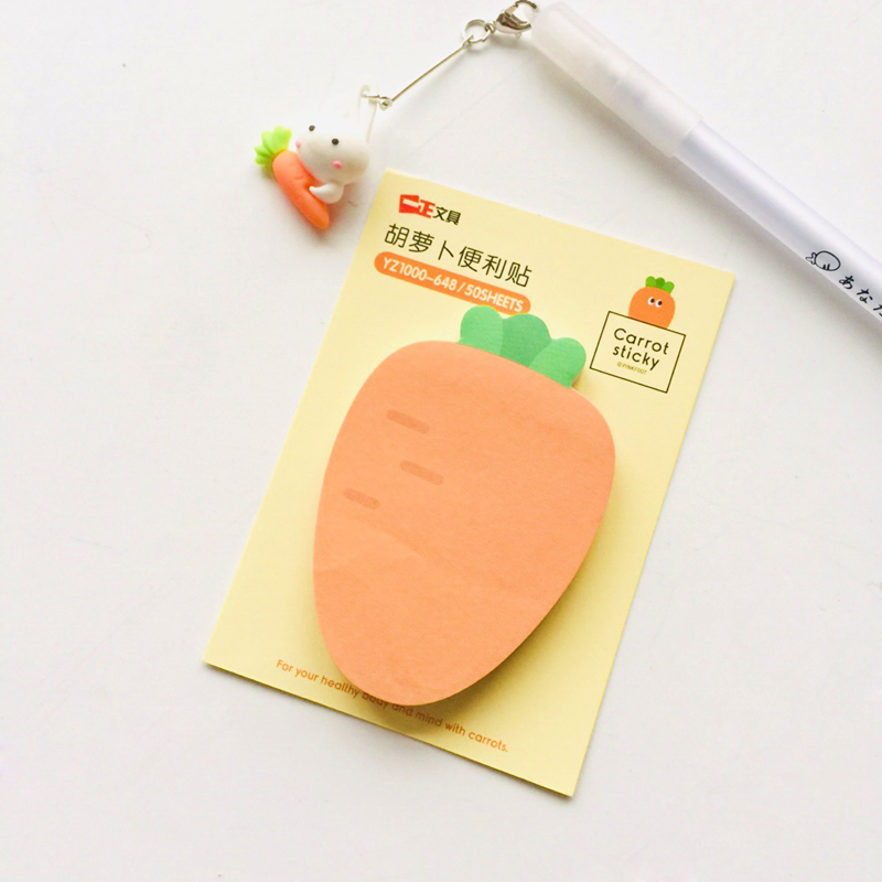50 Sheets Cute Carrot Memo Pads Plan Message Writing Sticky Notes Marker Stick Label School Office Supply