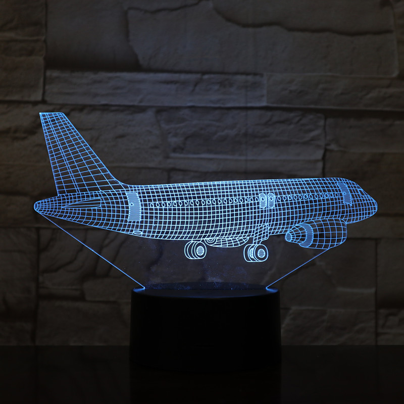 Kingchip 3D Abstract Plane Airplane Airbus Night Light 7 Color Change Table Desk Lamp Home Decoration Toy Brithday Xmas Gift image