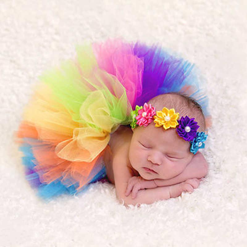 Одежда для новорожденных младенцев девочек повязка на голову с цветком пышное бальное платье с юбкой пачкаиз сетки фотография комплект одежды для малышей