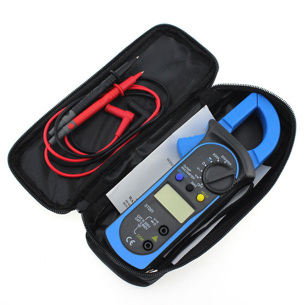 Digital Multimeter Auto Range Clamp Tester ST-201 Meter DMM AC DC <font><b>Volt</b></font> Ohm Frequency Clamp MultiMeter Best Accuracy image