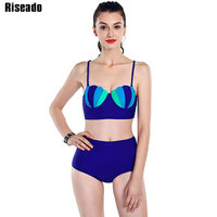Riseado High Waist Bikini Set Swimwear Women 2017 New Shell Bikini Top Push Up Swimsuit Summer
