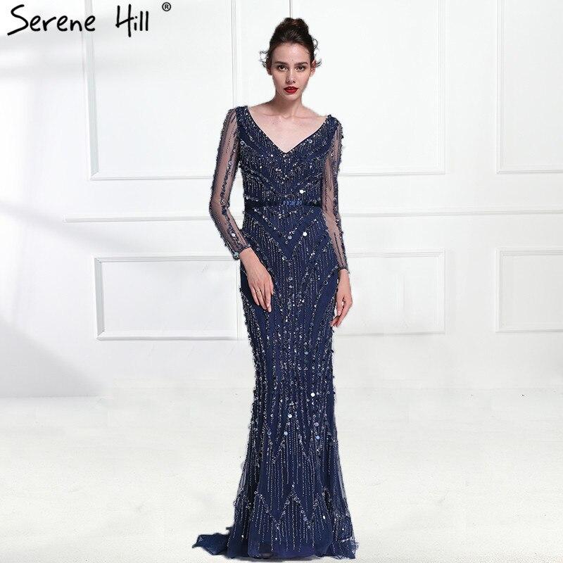 Luxury Pink Navy Blue Beading Mermaid Tulle Evening Dress V-Neck Long Sleeves Elegant Evening Gowns 2019 Real Photo LA6010