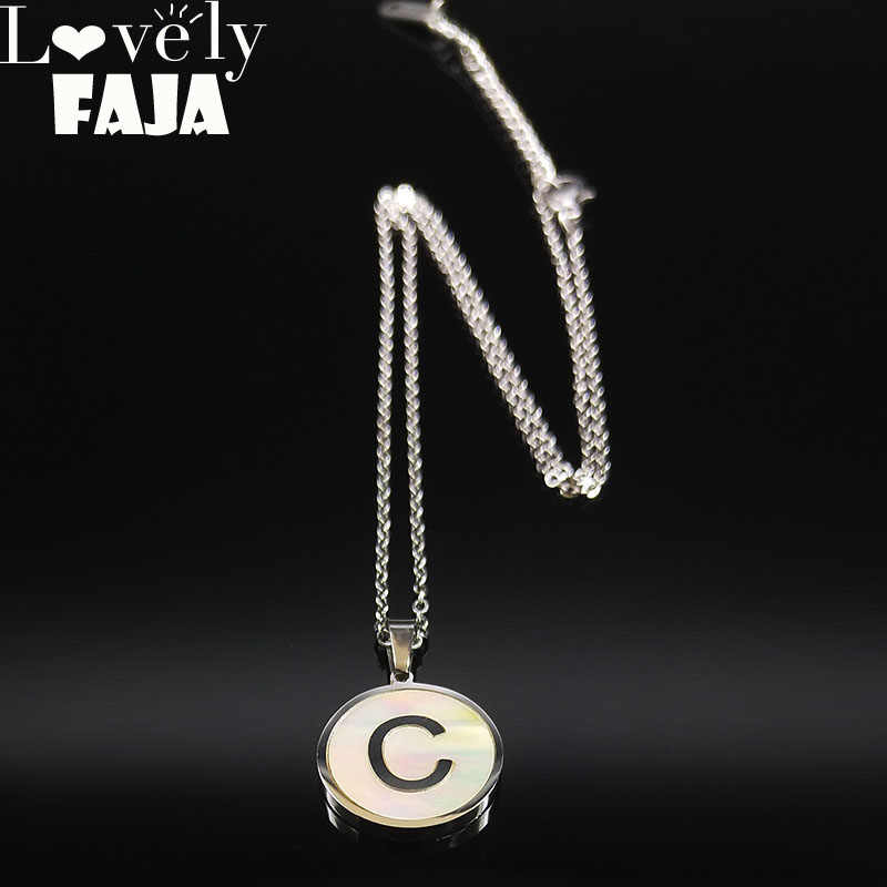 2019 Fashion Small Shell Stainless Steel Neckless for Women Silver Color C Letter Necklaces Pendants Jewelry gargantilla N18626