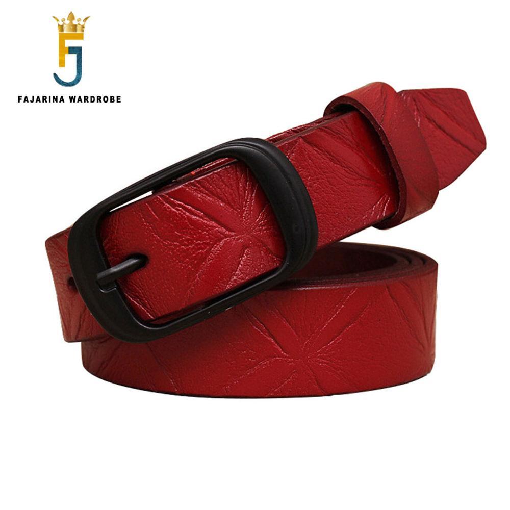 FAJARINA Cowhide Leather Print Embossed Pattern Belt Ladies Casual Style All-match Opasky pro džíny Kalhoty Pásy Dámské MNFAJA0007