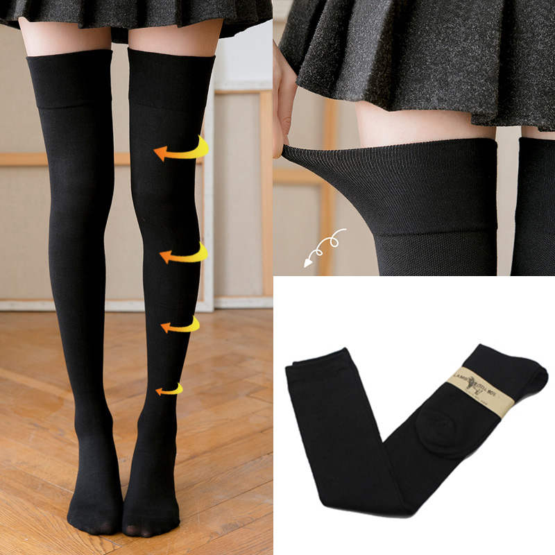 8c85a05449a Sexy women s stockings gaiters striped cotton long socks thigh high  stockings female erotic warm over knee socks women stocking