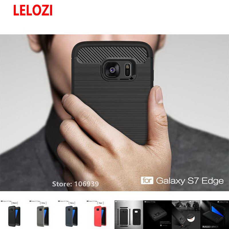 LELOZI Soft TPU Soft Back Armor Rugged Carbon Fiber Brushed Men Phone Coque Etui Case For Samsung Galaxy S7 Edge S7Edge SM G935