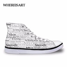 WHEREISART Trendy Flats Sneakers High Top Men Book Club Shoes Casual Breathable Mens Printed Vulcanize For