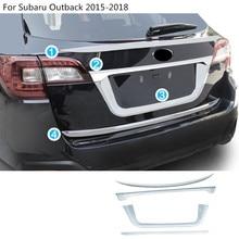 Автомобиль stylling ABS Chrome Задняя дверь лицензии багажника бампер Рама плиты отделкой лампы багажник для Subaru Outback 2015 2016 2017 2018