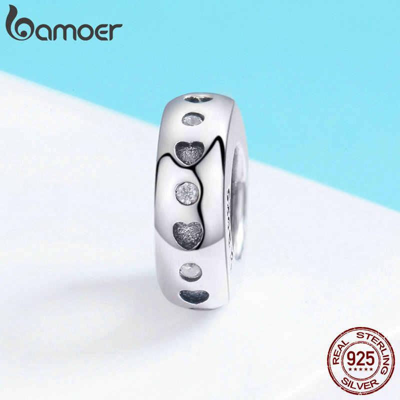 BAMOER Echt 925 Sterling Silber Spacer Herz Form Gravieren Charme Perlen fit Frauen Charme Armband Halskette Edlen Schmuck SCC593