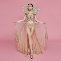 Sexy Perspective Sequins Bodysuit Gold Big Fan Collar Rhinestones Stage Outfit Nightclub Show Women Birthday Party Singer Dress