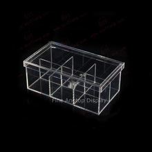 Clear Acrylic Rectangle Cosmetic Storage Box Jewelry Display Box 6 Grille With Lid