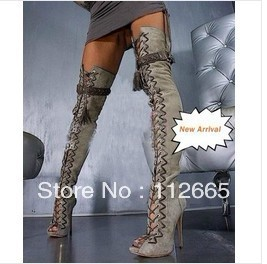 New designer Lace up thigh high boots fashion open toe brand long ...