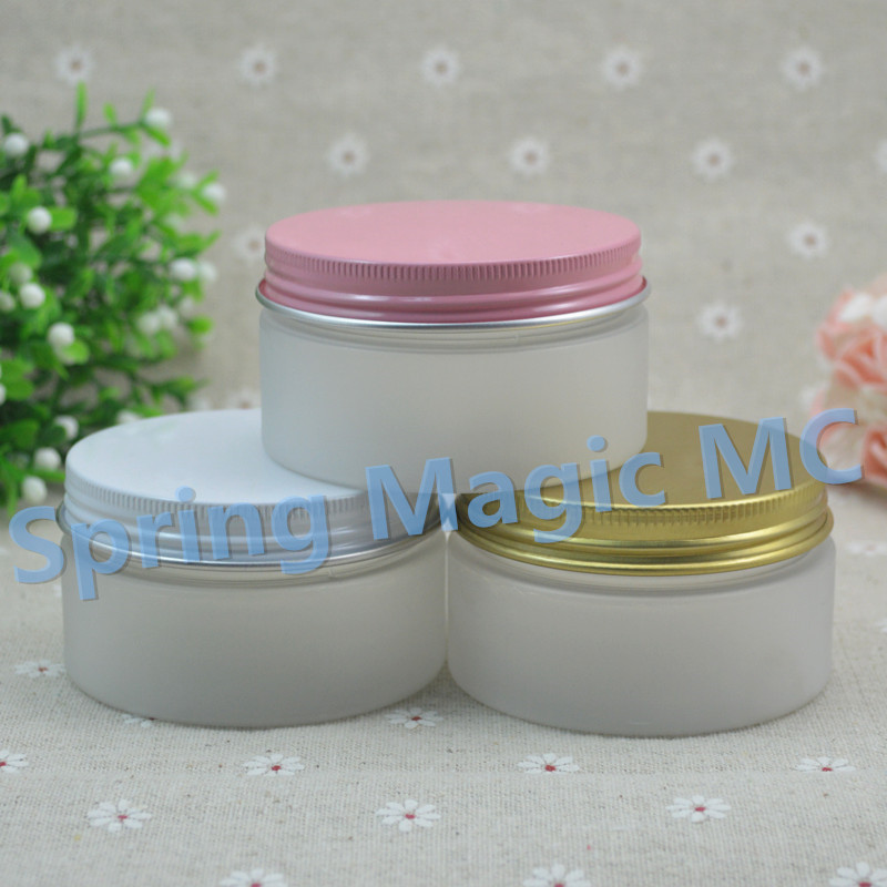 50pcs 100ml Frosted Plastic Cosmetic Jar With Aluminum Lid PET Jars 100g Cream Container cosmetic packaging