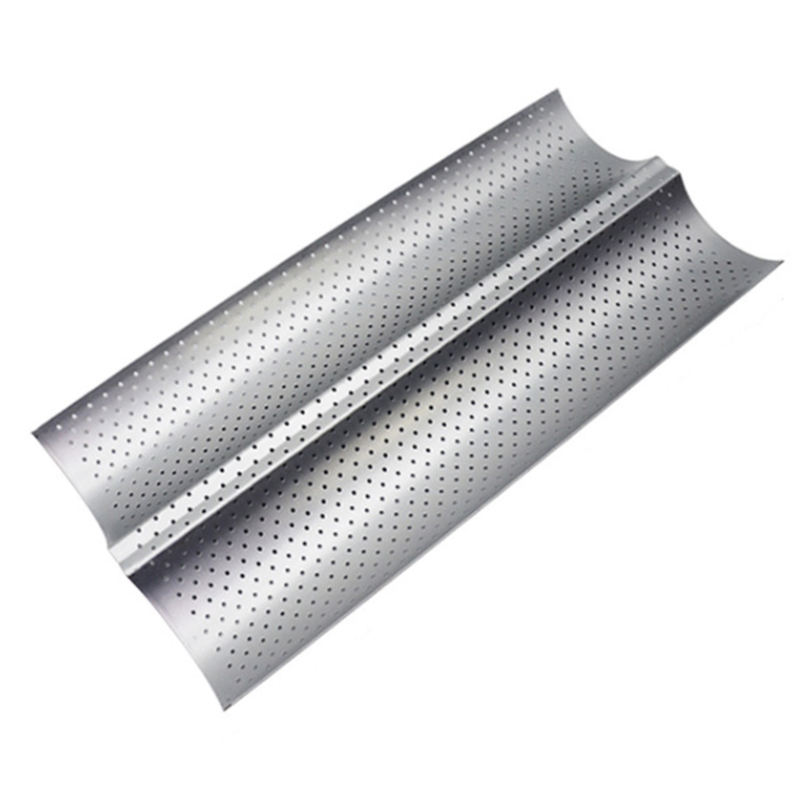 Food Grade Carbon Steel 2 Groove Wave French Bread Baking Tray For Baguette Bake Mold Pan